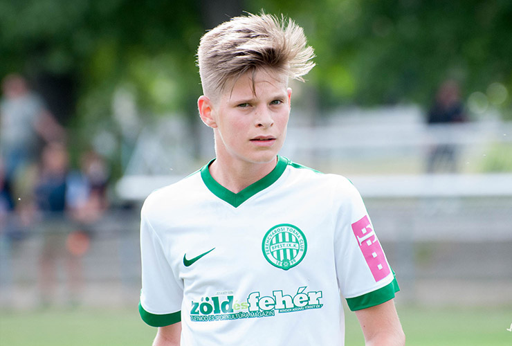 young player of Ferencvaros with white jersey