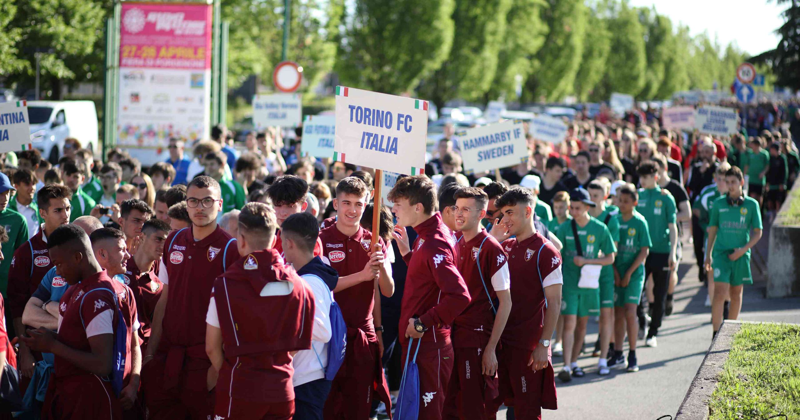 youth football opening parade in easter